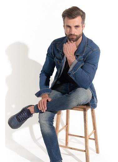 Z Giyim Likralı Yıpratmalı Skinny Fit Kot Ceket Mavi